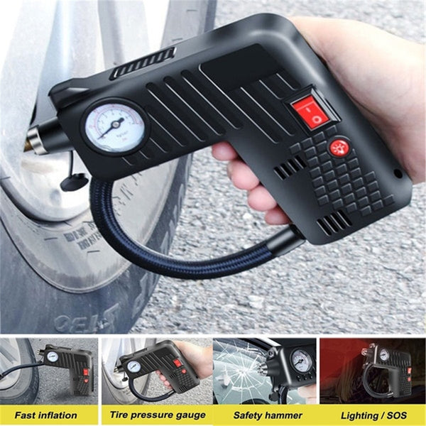 12V Portable Air Inflator Compressor Pump Tire LED Safety Hammer Compressor Cordless For Motorcycle Electric Auto Car Bike