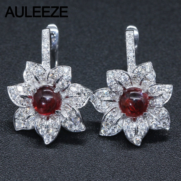 14K White Gold Drop Earrings For Women Round Cut Natural Garnet Natural Real Diamond Gemstone Jewelry Wedding Engagement Earring