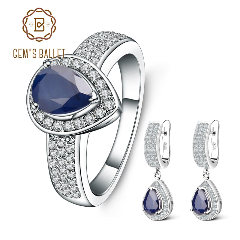GEM'S BALLET Natural Blue Sapphire Vintage Jewelry Sets 925 Sterling Silver Gemstone Earrings Ring Set For Women Fine Jewelry