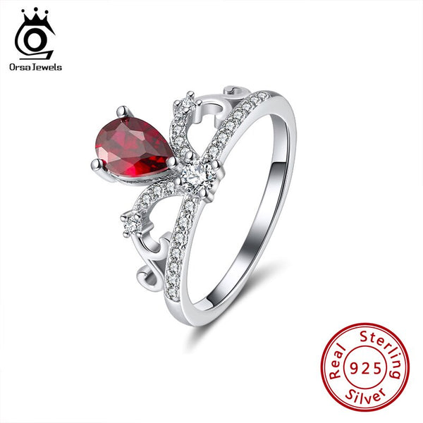 ORSA JEWELS Genuine 925 Silver Crown Rings Elegant Red Color Water Drop Shape Zircon Rings Wedding Engagement Fine Jewelry SR201