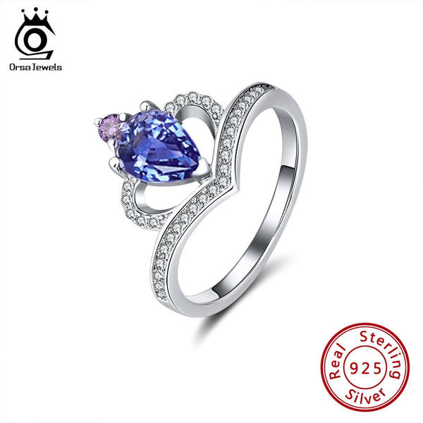 ORSA JEWELS 925 Silver Love Rings Elegant Blue & Purple Zircon Rings Newest Genuine Crown of Scepter Ring Fine Jewelry SR200
