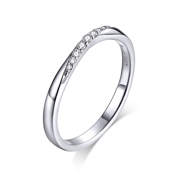 WOSTU 100% 925 Sterling Silver Shining Zirconia Rings For Women Wedding Engagement Simple Ring Fashion 925 Jewelry BSR095