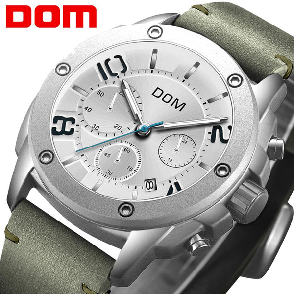 Reloje Men Watch DOM Male Leather Automatic date Quartz Watches Mens Luxury Brand Waterproof Sport Clock  M-1229