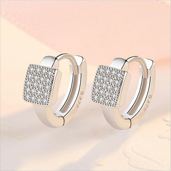 2020 New Arrival Lady Silver 925 Earrings Women Jewelry Fashion Zircon Hoop Earring Female Accessories Square Silver Earring Hot