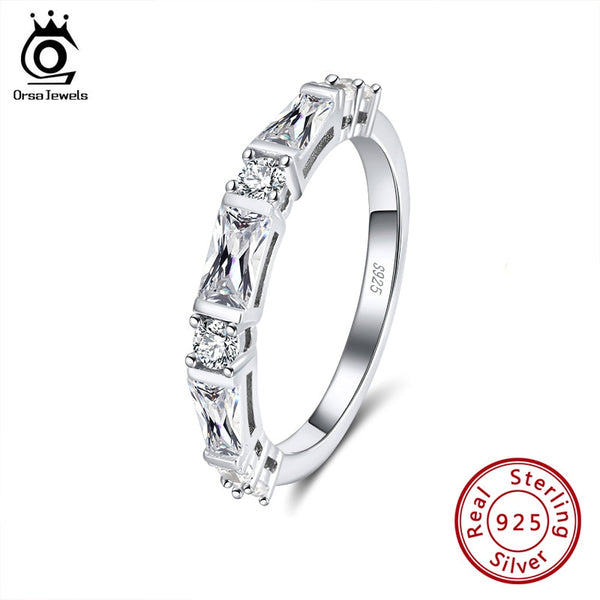 925 Sterling Silver Eternity Rings For Women ORSA JEWELS Round Shape Fine Cubic Zircon Eternal Wedding Bands Jewelry Gift SR183