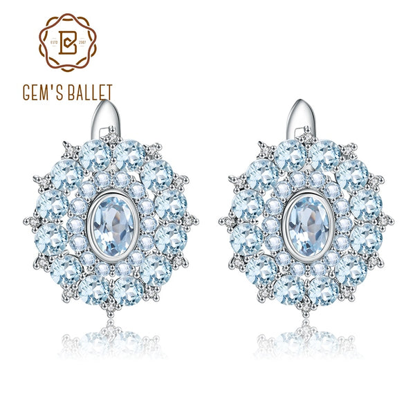 GEM'S BALLET Natural Sky Blue Topaz Vintage Earrings 925 Sterling Silver Gemstone Stud Earrings For Women Wedding Fine Jewelry