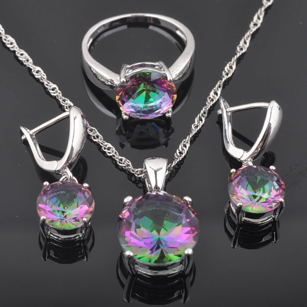 2019 New Round Rainbow Cubic Zirconia Women's 925 Silver Jewelry Sets Earrings/Pendant/Necklace/Rings Best Gift QZ0368