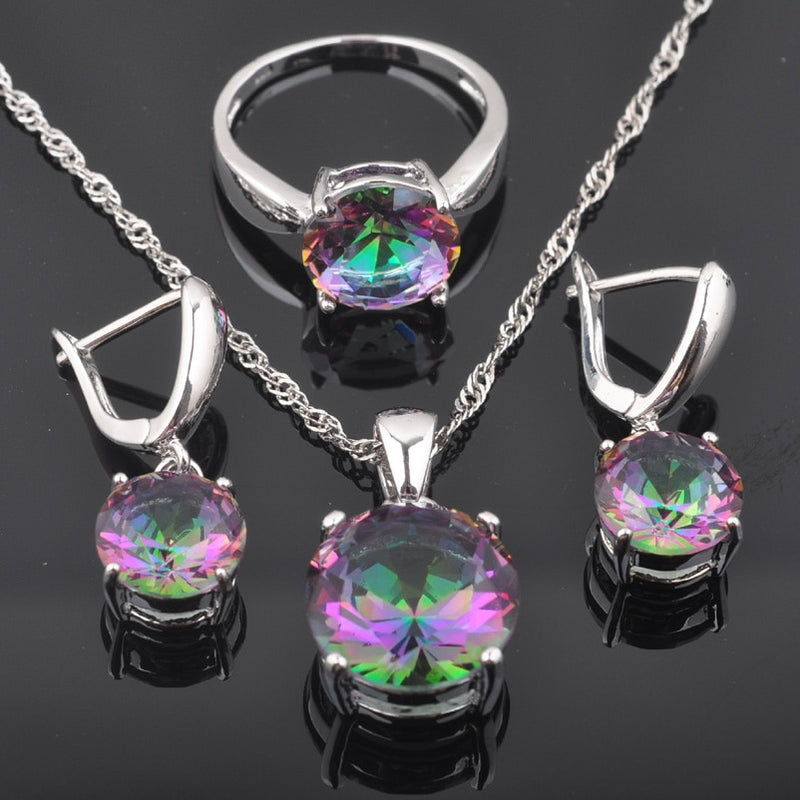2020 New Round Rainbow Cubic Zirconia Women's 925 Silver Jewelry Sets Earrings/Pendant/Necklace/Rings Best Gift QZ0368