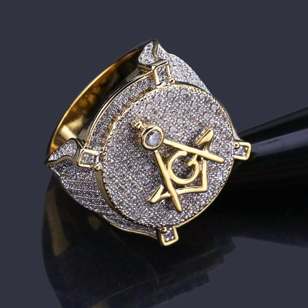 AAA CZ Zircon Ice Out Bling Big Wide Masonic Ring Gold Filled Copper Material Freemasonry Rings Men Hip Hop Rapper Jewelry 7-11