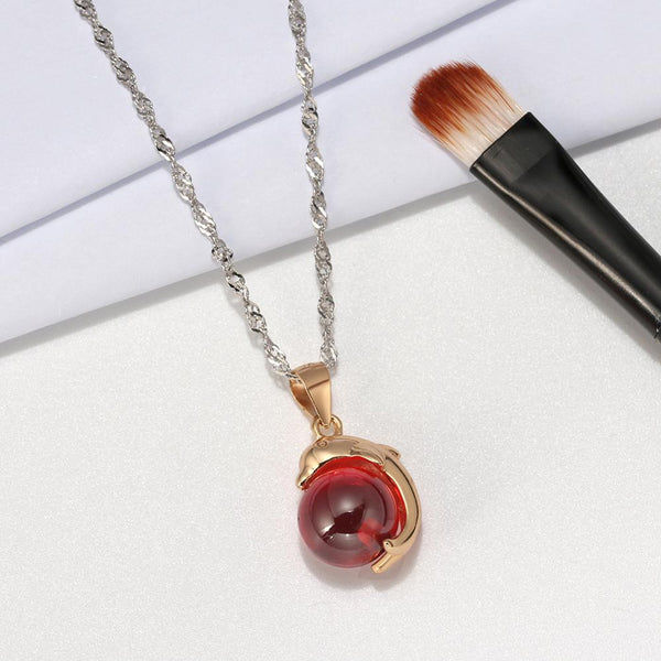 ORSA JEWELS Genuine 925 Dolphin Pendant Sterling Silver Necklaces Top Grade Red Agate Stone For Lady Silver Cute Necklaces ASN02