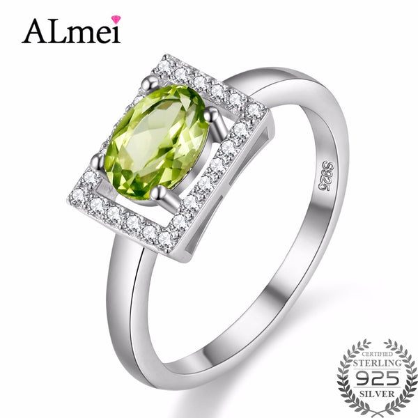 Almei Special Shine Full Peridot 925 Sterling Silver Wedding Rings Russia USA Holiday Australia Ring Jewelry with Box 40% FJ056