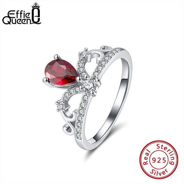 Effie Queen Elegant Queen Wedding Ring Red Crystal Stone 925 Silver AAAA Zircon Finger Rings for Female Jewelry Party Gift BR201