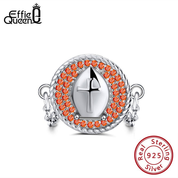 Effie Queen 100% Silver 925 Finger Rings For Women With AAA Zircon Crystal Cross Pattern Link Chain Ring Silver Jewelry BR112