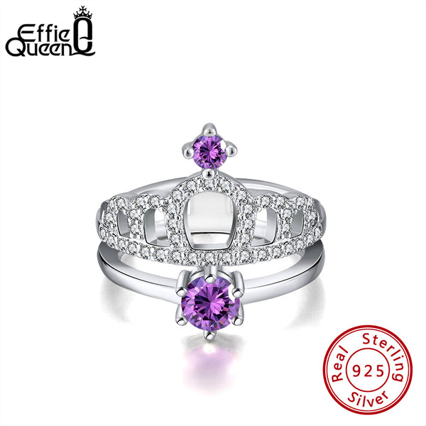 Effie Queen Romantic Princess Crown 925 Silver Engagement Rings Purple AAAA Zircon for Female Jewelry Wedding Party Gift BR202
