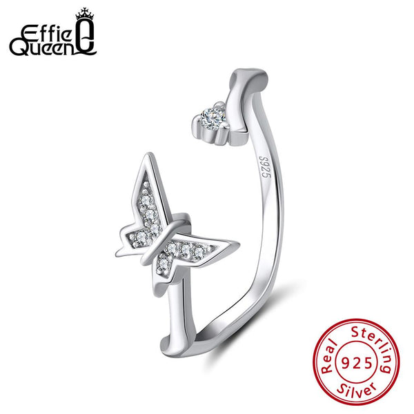Effie Queen 925 Sterling Silver Women Rings Butterfly Shape Adjustable Finger Ring Wedding Band Silver Jewelry Anillos BR137