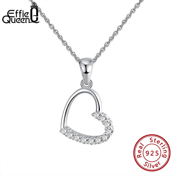 Effie Queen Silver 925 Romantic Love Pendant Necklaces with Big Hollow Heart Shape  AAAA Zircon Jewelry Woman Party Gift BN222