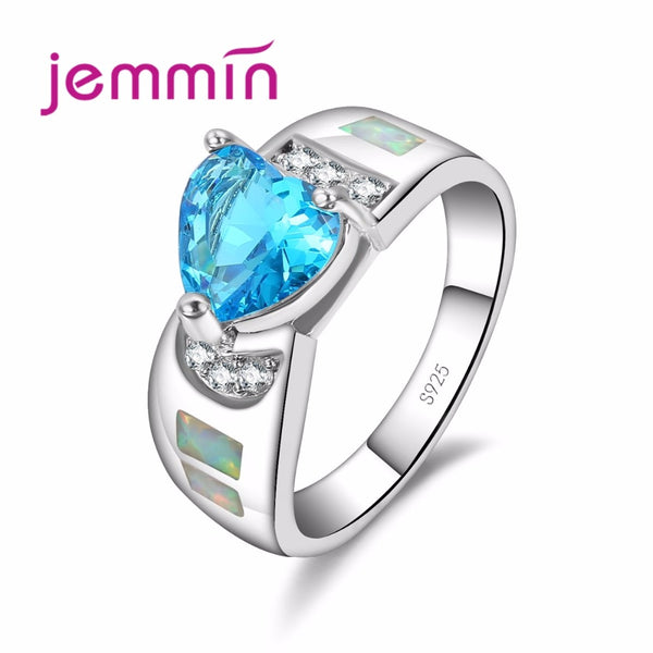 Top Quality 925 Sterling Silver Jewelry Elegant Blue Heart Pattern Wide Opal Loop for Women Love Gift Wedding Bridal Ring