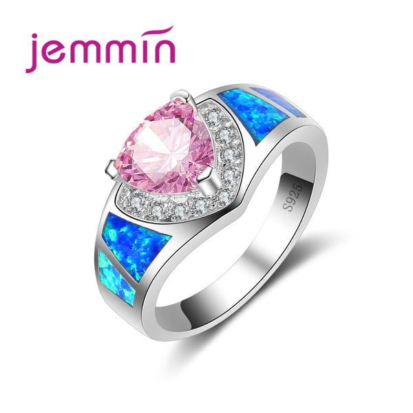 Valentine's Day Gift for Girls Lover Stylish Blue Opal Band Pink CZ Crystal Stone Ring Real 925 Sterling Silver Jewelry