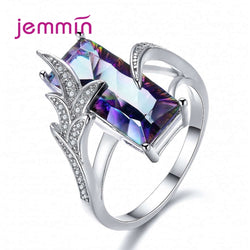New Luxury AAA Purple Cubic Zircon 925 Sterling Silver Rings Big Rhinestone Korean Geometric Engagement Jewelry Friendship Gift
