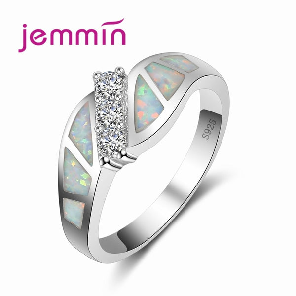 New Tide Fahsion Twist White Rainbow Opal Ring Simple 925 Sterling Silver Loop Connect with Little Round CZ Jewelry