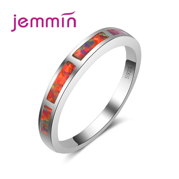 Female Narrow Wedding Orange Fire Opal Ring 925 Sterling Silver Jewelry for Women Fashion Dazzling Bijoux High Quality
