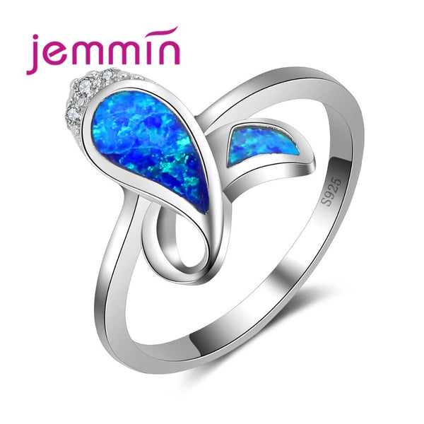Mystic Particular Shape Crooked Blue Fire Opal Ring Hot Selling 925 Sterling Silver Brand Jewelry Wedding Jewelry Gift