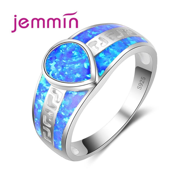 Simple Wide Wedding Hollow Ring Water Drop Crystal Shape Blue Fire Opal Ring Brilliant Jewelry for Women Female