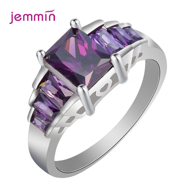 Wedding Top Jewelry Purple AAA Cubic Zircon 925 Sterling Silver Ring Size 5 6 7 8 9 10 For Women Lovers Birthday Gift Joays