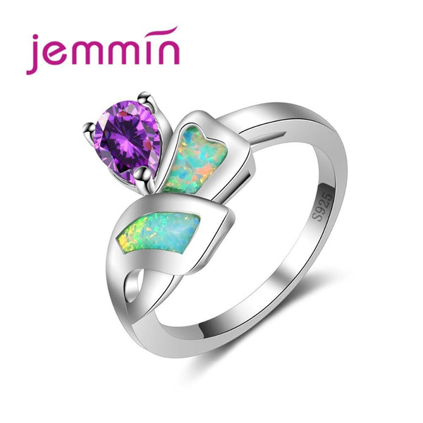 Unique Irregular Shape Corss Blue Fire Opal Band with Purple CZ Water Drop Crystal Real 925 Sterling Silver Jewelry for Women