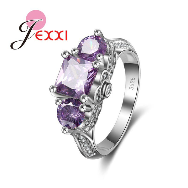 Bijoux Purple Square 4 Claws Pendant Ring for Women 925 Sterling Silver Bridal Wedding Accessories Anillo Jewelry