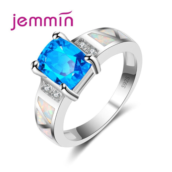 New Fashion Wedding Ring Classic Suqare CZ Opal Ring Fine 925 Sterling Silver Jewelry Blue Color Hot Bridal Ring