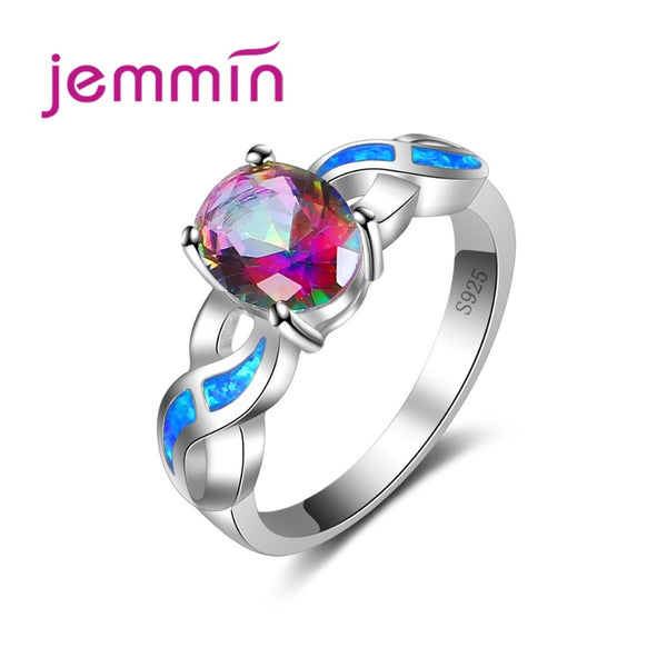 Hot Gift for Women Girls 925 Sterling Silver Jewelry Popular Cross Loop Multicolor Ring for Wedding Patry Valentine's Day
