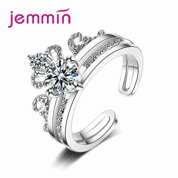 Hot Sale Exquisite Setting Sparking CZ Stone 925 Sterling Silver Opening Finger Rings For Woman Girls Anniversary Gift