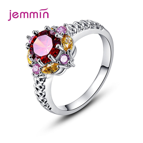Boutique Women Dazzling 925 Sterling Silver Engagement Rings Cubic Zirconia Bijoux AAA Austria Crystal Jewelry Birthday Gift