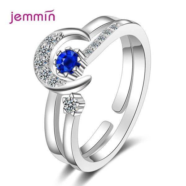 New Adjustable Moon Shape Women 925 Sterling Silver Bridal Sets Open Rings Cubic Zirconia Promise Engagement Ring Jewelry