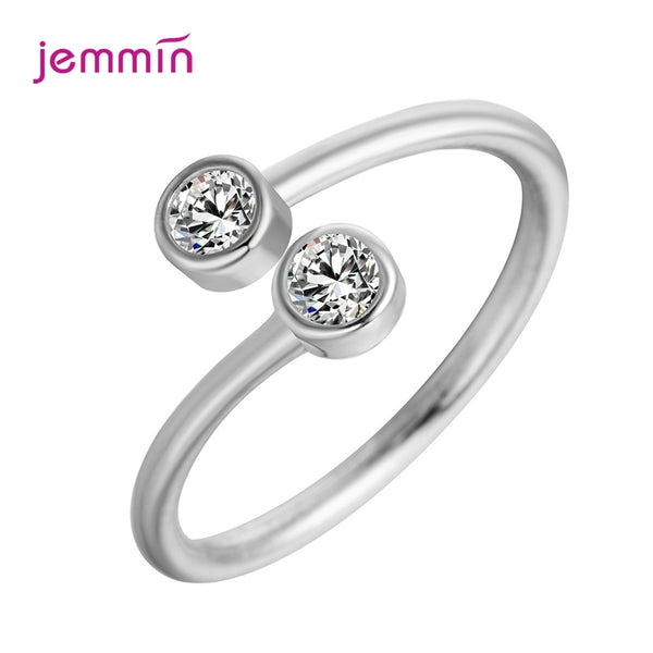 Elegant 925 Sterling Silver Luxury Crystal Two Stone Rings For Women Jewelry Fashion Open Adjustable Finger Ring