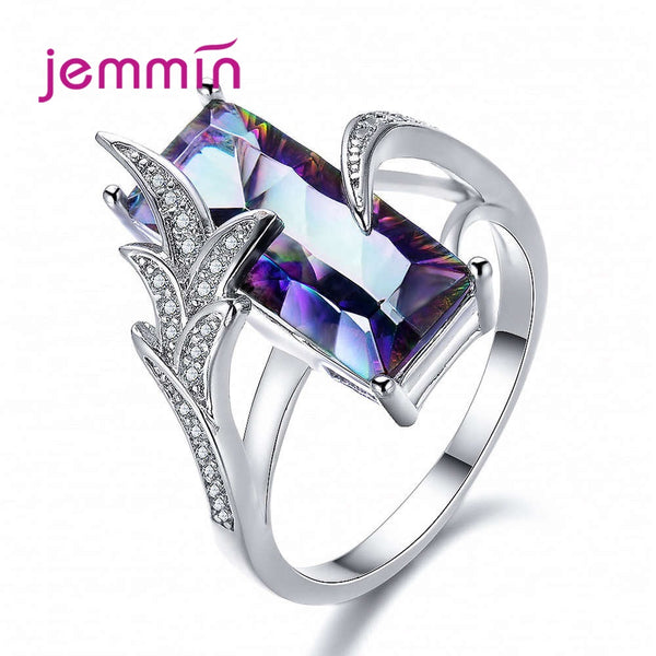 925 Sterling Silver Cocktail Rings For Women Party Fashion Jewelry Punk Style Leaf Shape CZ Cubic Zirconia Wholesale