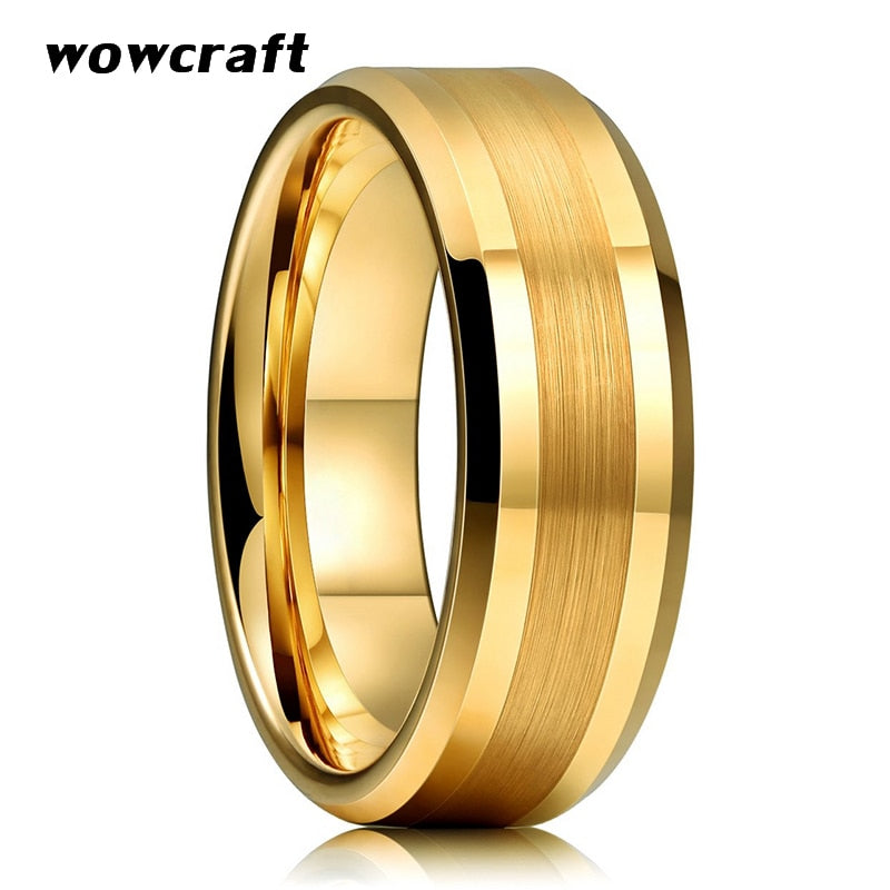 6mm 8mm Mens Womens Gold Tungsten Carbide Wedding Band Rings Beveled Edges Polished Matte Finish Comfort Fit Personal Customize
