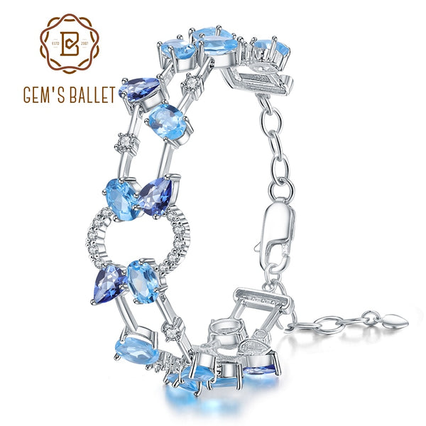 GEM'S BALLET Natural Sky Blue Topaz Mystic Quartz Bracelets 925 Sterling Silver Multicolor Gemstone Bangles for Women Jewelry