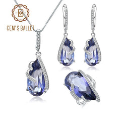 GEM'S BALLET 925 Sterling Silver Water Drop Earrings Ring Pendant Sets For Women Natural Iolite Blue Mystic Quartz Jewelry Set