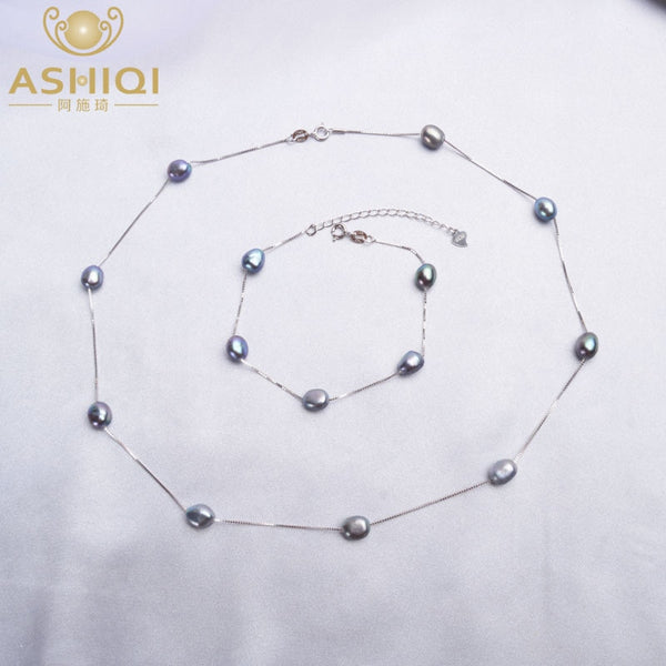ASHIQI Baroque Natural Pearl Necklace Bracelet 925 Sterling Silver Jewelry Sets 6-7mm Freshwater Pearl For Women