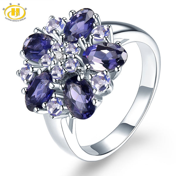 HUTANG Iolite Tanzanite Wedding Rings Natural Gemstone Accents 925 Sterling Silver Ring Fine Elegant Jewelry for Women's Gift