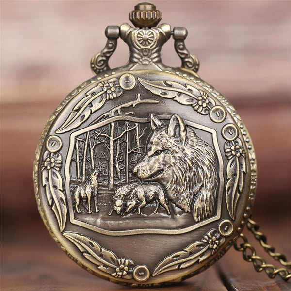 Creative Wild Wolf Retro Bronze Pocket Watch Men Women Fashion Pendant Awesome Animal Quartz Clock with Necklace Chain Best Gift
