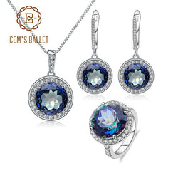 GEM'S BALLET Natural Blueish Mystic Quartz Jewelry Set Real 925 Sterling Silver Pendant Earrings Ring Set For Women Fine Jewelry