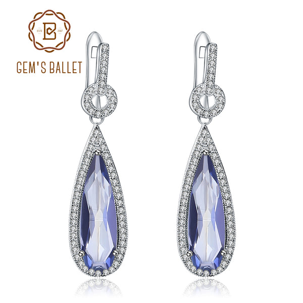 GEM'S BALLET 925 Sterling Silver Water Drop Natural Iolite Blue Mystic Quartz Gemstone Dangle Earrings Fine Jewelry For Women