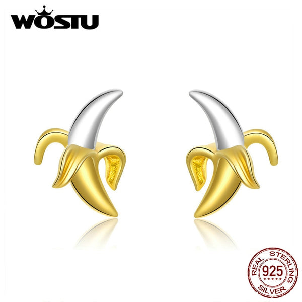WOSTU 100% 925 Sterling Silver Banana Stud Earrings For Women Wedding Original Small Earrings Fashion Jewelry Gifts CQE731