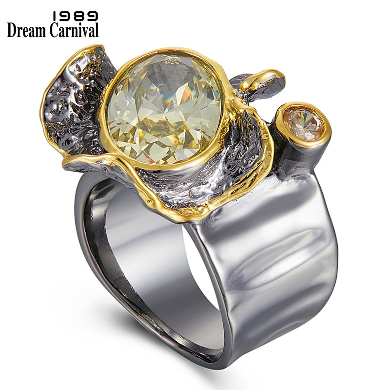 DreamCarnival1989 Very Big Dazzling Golden Color Delicate Cut Zircon Wedding Rings for Women Gothic Chic Dating Jewelry WA11785