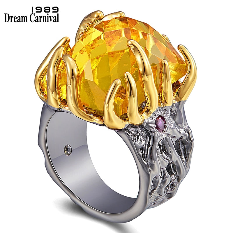 DreamCarnival1989 Original Big Zircon Love-Ring Women Delicate Wedding Engagement Gothic Jewelry Rings Flaming-Look Gift WA11758
