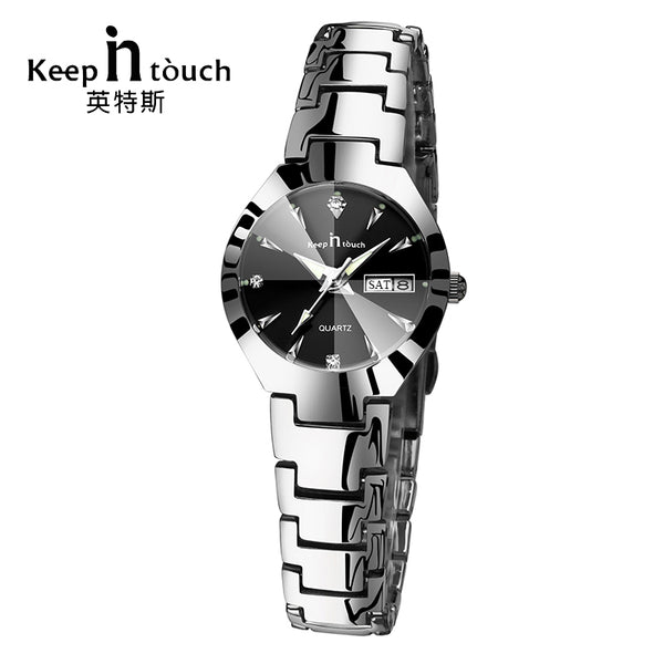 KEEP IN TOUCH Black Silver Watch Women Quartz Calendar Rhinestone Dress Bracelet Women's Watch Ladies Luminous Relogio Feminino