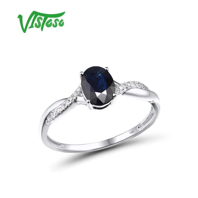 VISTOSO Pure 14K 585 White Gold Ring For Women Ring shining Diamond Blue Sapphire Luxury Wedding Engagement Elegant Fine Jewelry